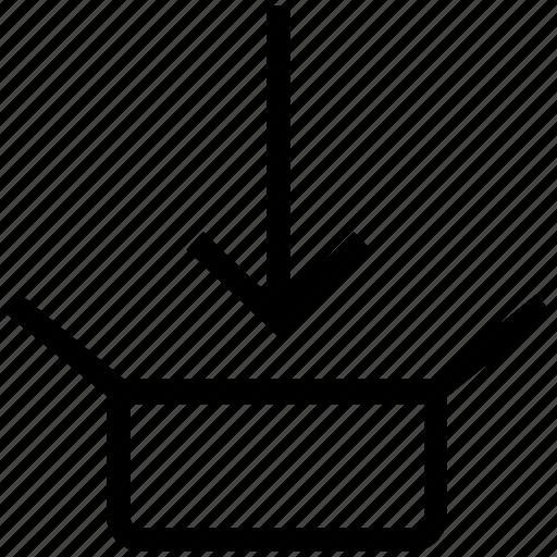 arrow, box, in, internet icon