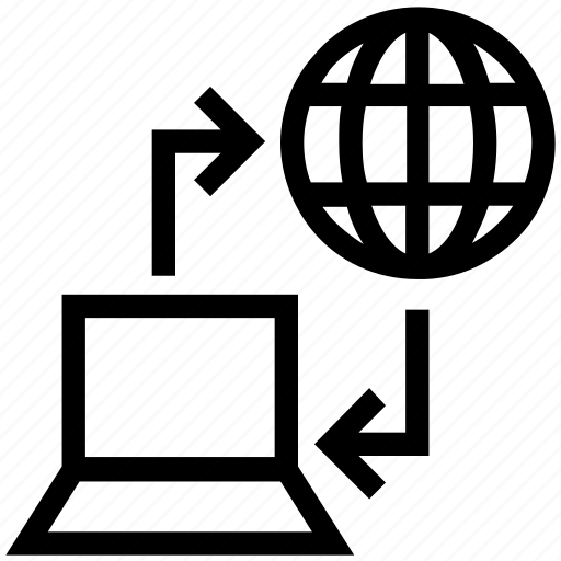 internet, laptop, networking, sharing, world icon