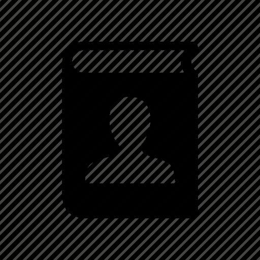 person, personal file, profile, silhouette icon