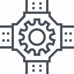 cog, connect, connection, gear, globe, network, process icon