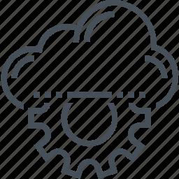 cloud, gear, machine, technology, virtual, web, white icon