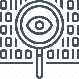 big data, encryption, eye, find, magnifier, magnifying, search icon