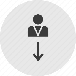 arrow, chat, down, instruction, talk, user icon