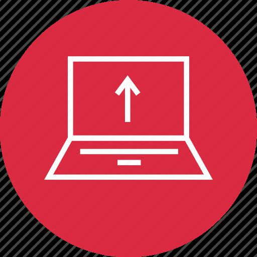 arrow, laptop, screen, up, upload icon
