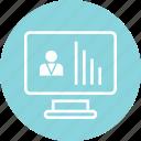 bars, computer, data, profile, screen, user