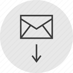 arrow, attachment, down, email, mail icon