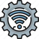 internet, iot, technology, gear, cogwheel, wifi, machine