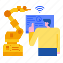manufacturing, iot, intelligence, smart, industrial, robot, factory icon