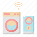 internet, laundry, machine, network, smart, washing, wifi icon
