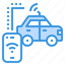 car, internet, security, smartphone, wireless icon