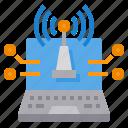 communication, internet, laptop, network, signal