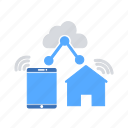 cloud clients, cloud network, home automation, internet of things, iot, smart home, smart network icon