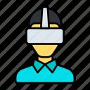 vr, virtual, reality, glasses, man, wear, box