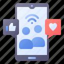 social, media, network, love, like