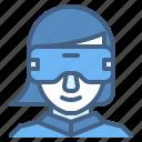 vr, virtual, reality, glasses, woman, wear