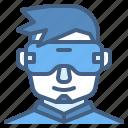 vr, glasses, virtual, reality, man, wear