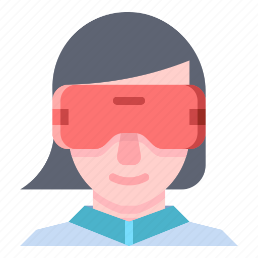 Vr, virtual, reality, glasses, woman, wear icon - Download on Iconfinder