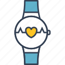 clock, heart, internet, thinks icon