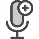 add, audio, internet, microphone, plus, podcast, radio icon