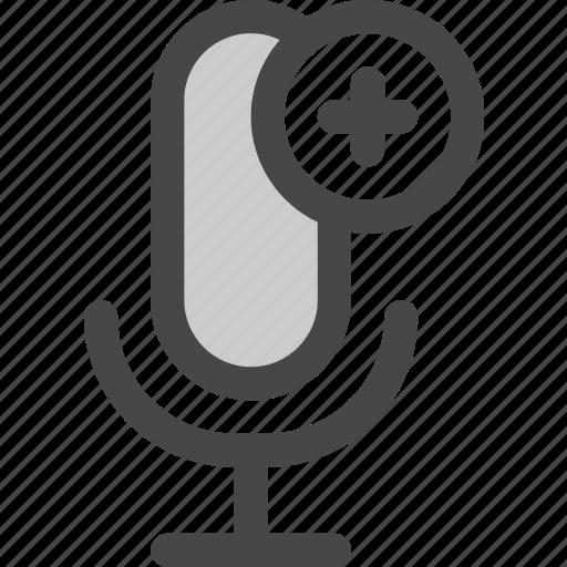 add, audio, internet, microphone, plus, podcast, radio icon