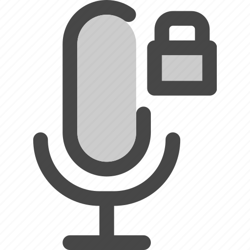audio, locked, microphone, podcast, secured, unavailable icon