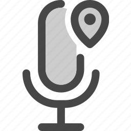 audio, location, map, microphone, pin, podcast icon