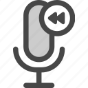 audio, microphone, playback, podcast, rewind icon
