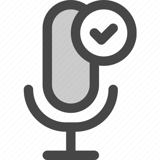 audio, confirmed, done, microphone, podcast, ready icon