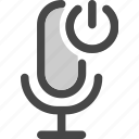 audio, device, microphone, podcast, power, standby icon
