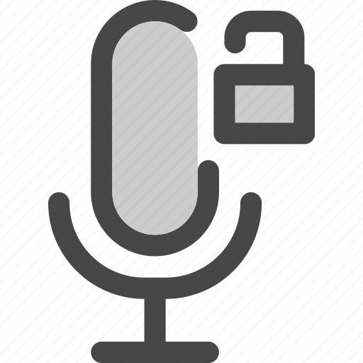 audio, available, microphone, podcast, unlocked, unprotected icon