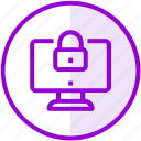 computer, lock, monitor, security icon