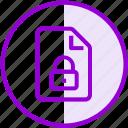 document, file, lock, security icon