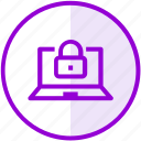 encryption, laptop, lock, security icon