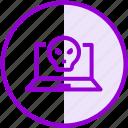 hacking, laptop, security, virus icon