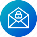 email, lock, mail, security icon