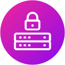 database, lock, security, server icon