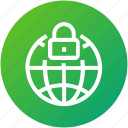 globe, internet, lock, protection, security icon