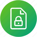 document, file, lock, security icon