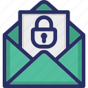 email, lock on envelope, mail, security icon
