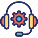 gear, headset, support, support agent, technical support icon