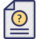 document, encryption file, faq, question, question file icon
