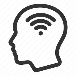 connection, head, human, interactivity, signal, wifi icon