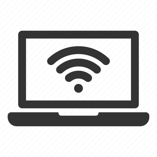 configuration, connection, laptop, network, signal, wifi icon