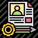 portfolio, profile, cv, resume, applicant icon
