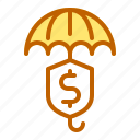 bank, business, finance, insurance, umbrella icon