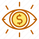 bank, business, eye, finance, visibility icon