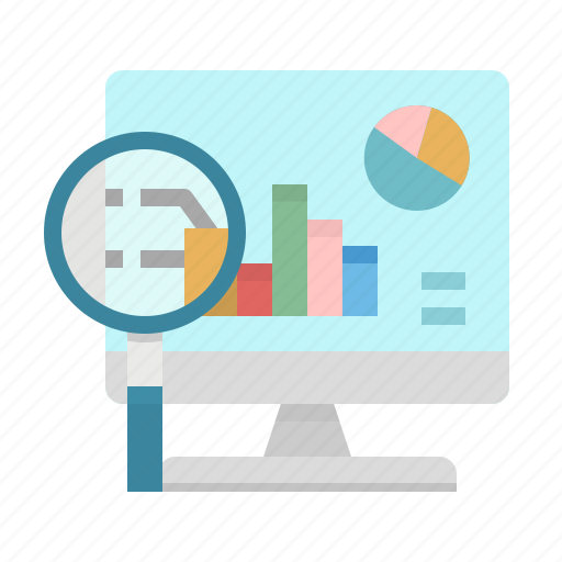 analytics, business, computer, graph, magnifying icon