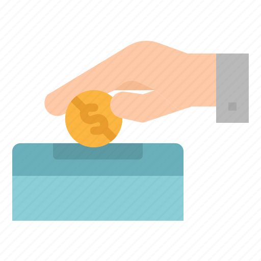 business, charity, coin, donate, hand icon
