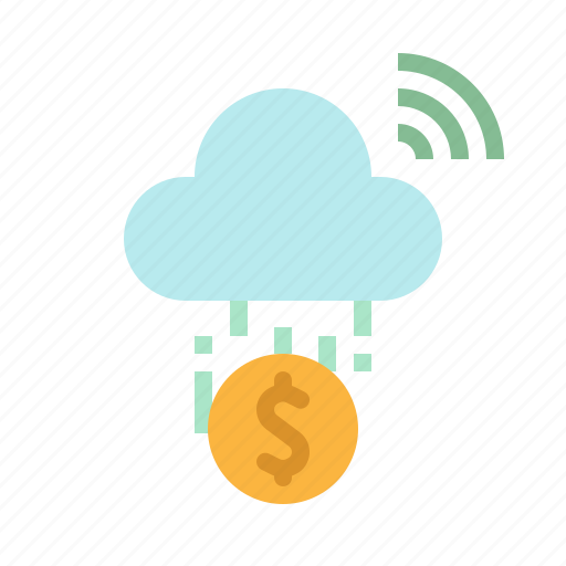 cloud, coin, digital, electronic, money icon