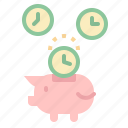 coin, money, piggy, time, timer icon